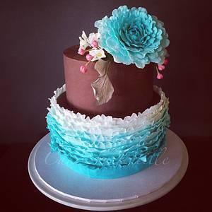 Teal ruffle & naked ganache - Cake by cakesbylucille