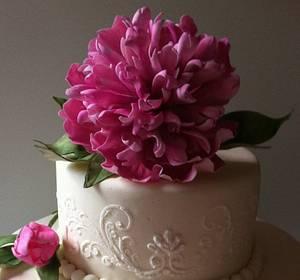 Sugarpaste/Gumpaste Double Peony  - Cake by Anne Cutajar-Wagner