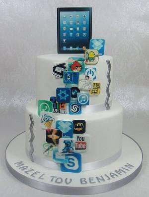 iPad, iPhone, Apps, App World Birthday / Bar Mitzvah Cake - Cake by Ceri Badham