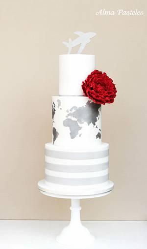 Travel themed wedding cake - Cake by Alma Pasteles
