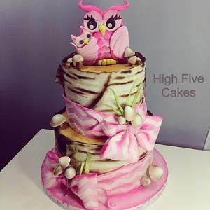 Woodland Owls (girl) - Cake by Sarah Myers
