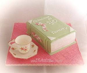 Cup of tea and a good book - Cake by Fantail Cakes