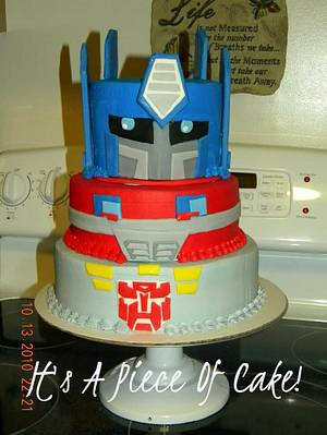 Transformers Cake Buttercream Icing, Fondant Accents - Cake by Rebecca