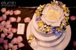 Peony + Hydrangeas Wedding Cake - Cake by Heidi