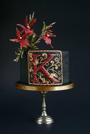 Black cake with a monogram - Cake by Katarzynka