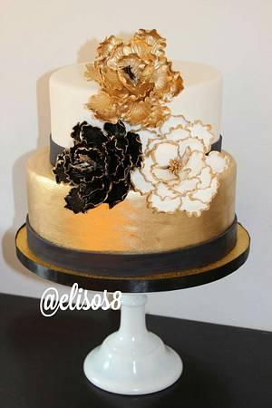 Black & Gold Cake - Cake by Elisos