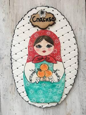 Hand painted matryoshka 33cm cookie  - Cake by Martina Encheva