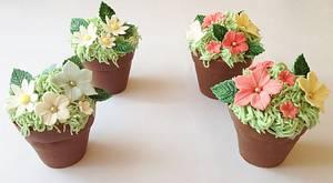 Flower Pot Mini Cakes - Cake by rosiescakes