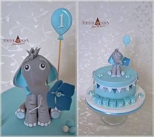 First birthday ...cute elefant - Cake by Tortolandia
