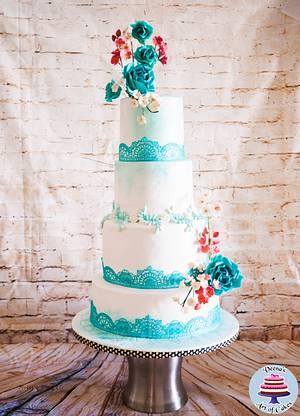 Turquoise Lace Wedding Cake  - Cake by Veenas Art of Cakes