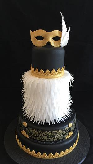 Burlesque, feather, black and gold cake - Cake by Galatia