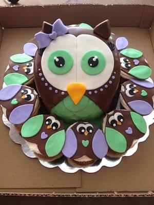 owl cake for a bridal shower. - Cake by Samantha Corey