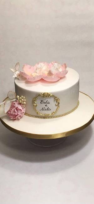 baptism cake for twins - Cake by Kvety na tortu