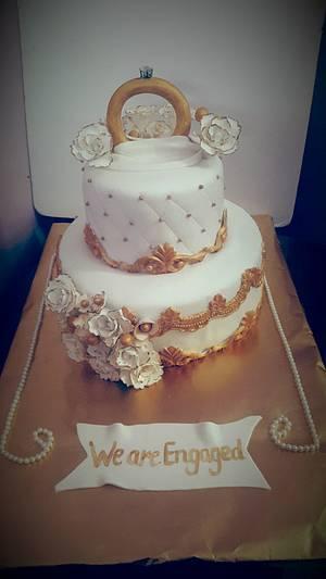 #ringceremonycake#gold#carnations#rose#lovedmakingwhitegoldcake  - Cake by Bhawan Deep  Kaur