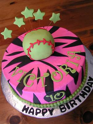 Pink zebra and softball - Cake by Cake Creations by Christy