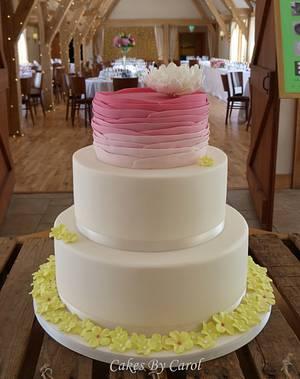 Raspberry Ruffles & Lime Blossoms - Cake by Carol