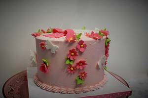 Pink buttercream and spring blossoms - Cake by Rosie93095