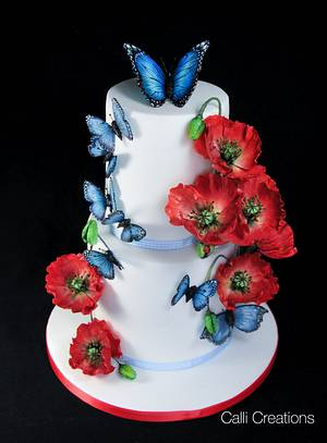 Poppies and Butterflies Summer Cake - Cake by Calli Creations