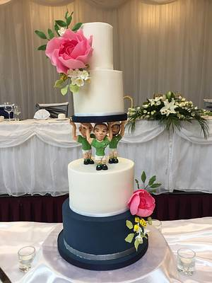 Rugby wedding cake - Cake by Claire Lynch - Quirky Cake Designs