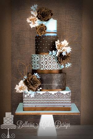 Blue and brown wedding cake - Cake by Bellaria Cake Design