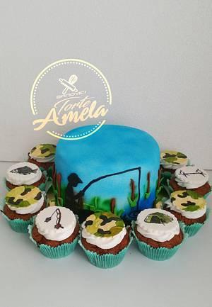 Fisherman cake and cupcakes - Cake by Torte Amela