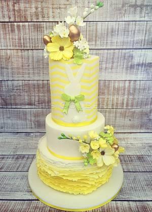 Fondant Cake Topper Sweet Easter Collaboration - Easter Flower Cake - Cake by Els Goubert