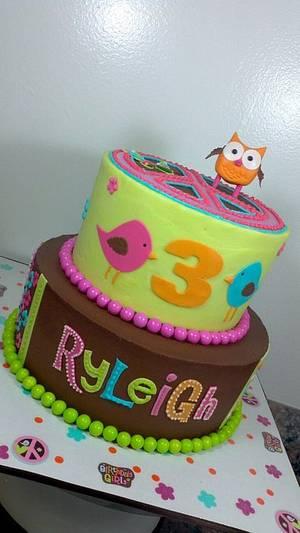 HIPPIE CHICK OWL THEME BIRTHDAY CAKE - Cake by subwaygirl23