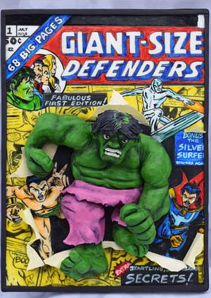 2D comic book with 3D Hulk Busting out! - Cake by Jean A. Schapowal