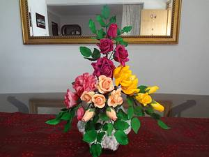 Sugar Flower Arrangement - Cake by Apsara's Cakes