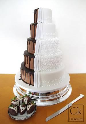 2 Sided Wedding Cake-Chocolate meets classic - Cake by Natasha Shomali