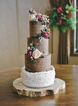 Natural Ganache and Peony/Blackberry Wedding Cake - Cake by Sweet and Swanky Cakes ~ Sonja McLean