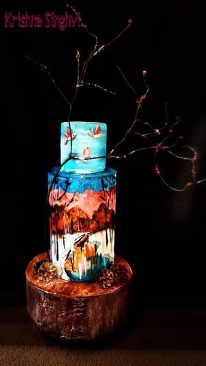 Winter stream - Cake by krishnasinghvi