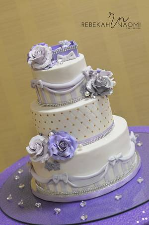 Lilac and Silver engagement cake - Cake by Rebekah Naomi Cake Design