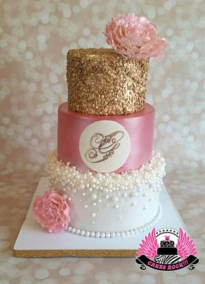 Gold, Pearls, and Pink Baby Shower  - Cake by Cakes ROCK!!!