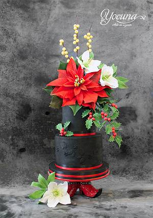 Tarta de la Navidad - Christmas cake - Cake by Yolanda Cueto - Yocuna Floral Artist