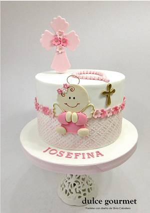 Baptism cake for little Josefina - Cake by Silvia Caballero