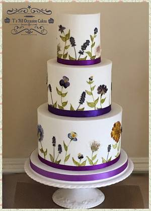 Edible pressed flowers wedding cake - Cake by Teraza @ T's all occasion cakes