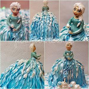 Elsa from the Disney film Frozen.. Walking Doll Cake - Cake by Flourbowl Cakes