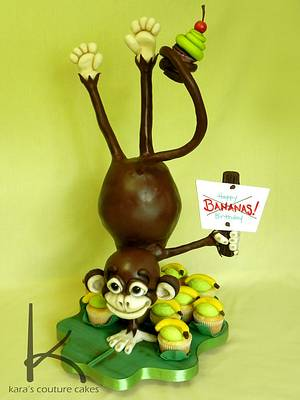 3D Sculpted Monkey On One Hand - Cake by Kara's Couture Cakes