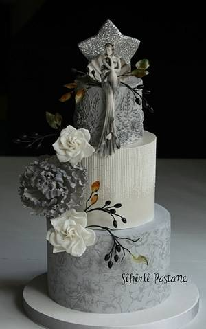 Gray Floral Cake - Cake by Sihirli Pastane