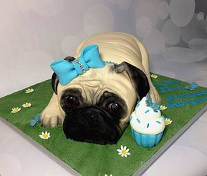 Pug birthday cake - Cake by Dragons and Daffodils Cakes