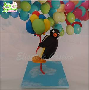 Pingu and the balloons - gravity defying cake - Cake by Bety'Sugarland by Elisabete Caseiro