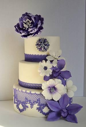 Lavender Purple Peonies Wedding Cake - Cake by Lea's Sugar Flowers