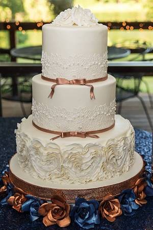 Heart ruffles and Lace Wedding Cake - Cake by Cakes For Fun