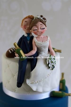 Drunken bride and groom wedding cake  - Cake by Zoe's Fancy Cakes