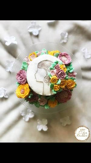 Belle fille -Caker buddies collaboration- buttercream - Cake by meenal