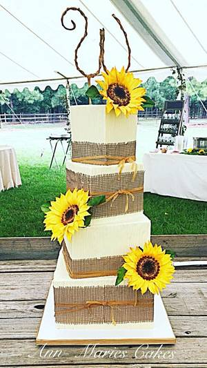 Rustic Sunflowers and burlap wedding cake  - Cake by Ann-Marie Youngblood