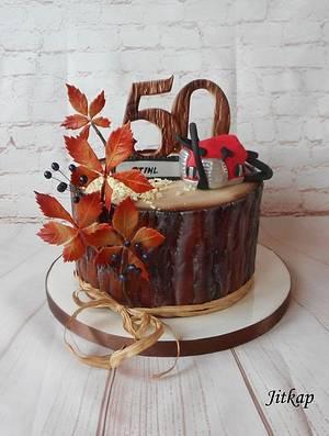 Birthday cake stump - Cake by Jitkap