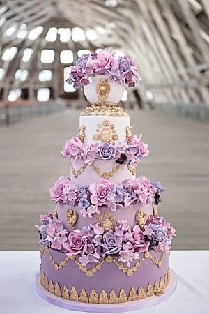 Radiant Orchid Marie Antoinette Cake - Cake by Elizabeth's Cake Emporium