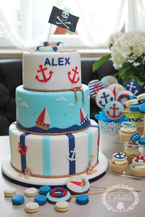 Nautical birthday cake and candy bar - Cake by Cofetaria Dana